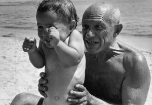 FRANCE. Provence-Alpes-C™te d'Azur.Golfe-Juan. Pablo PICASSO with his son Claude. August, 1948. Pablo PICASSO, artist, with his family.